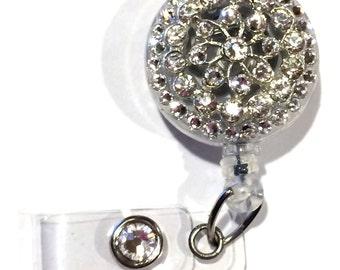 Clear Crystal Flower and Swarovski Crystal and Flower Embellished ID Badge Reel
