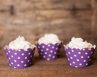 12 Purple Polka Dot Cupcake Wrappers - Purple Cupcake Wrappers - Great for Birthday Parties, Baby Showers & Bridal Showers