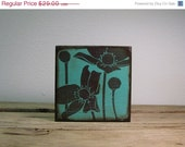 ON SALE Turquoise Flower Wood Art Block Painting--MatchBlox Wall Art Blocks - 1717