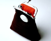 Dark brown and tangerine orange linen purse...sand dollar button...cash credit card ID...eco chic luxury...Italian flax linen...ON SALE