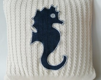 Seahorse - Pillow Cover - Square 16 Inch - Recycled - Nautical - Beach House - Hand Made - Cotton Cable Knit - Denim - SEBASTIEN - UNIQUE