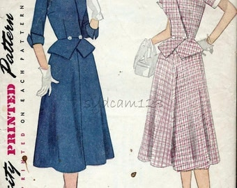 Vintage 1950s Peplum Jacket and Skirt Pattern...Suit Dress...Detachable Collar and Cuffs...1952 Simplicity 3853 Bust 32
