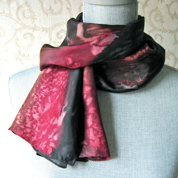 Silk Scarf Hand Dyed in Rustic Shades of Black, Red and Brown