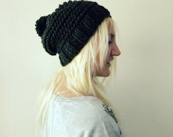 Beanie for Men and Women- Handmade Wool Beanie- Deep Green Pom pom hat wool beanie cozy winter beanie dark green knitted hat slouchy pompom