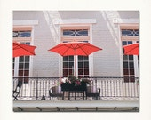 "New Orleans Balcony Photograph French Quarter. ""Red Umbrellas"" Fine Art Photograph, Home Decor, Wall Art."