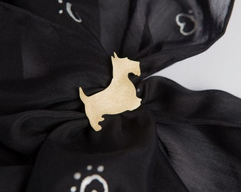 Unique Hand Made Brass Scarf Ring for Dog Lovers with Scottish Terrier  Silhouette Golden Color