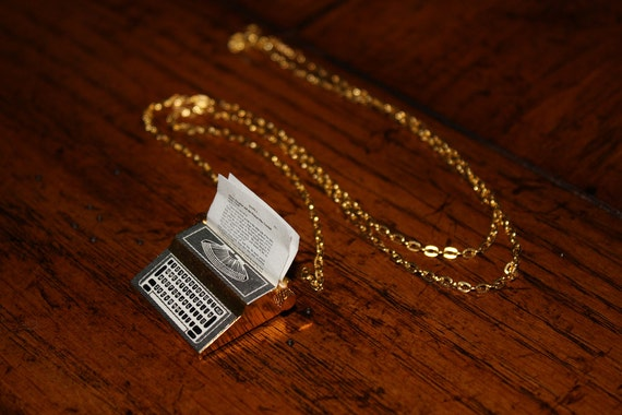 The Writer - Personalized - Gold Plated Typewriter Necklace