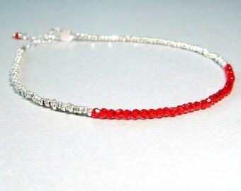 Stacking Bracelet, Hill Tribe Silver Bracelet, Red Crystal Bracelet, Red Jewelry, Thai Silver, Siam Ruby, Sleek, Slim, Delicate Candy Apple