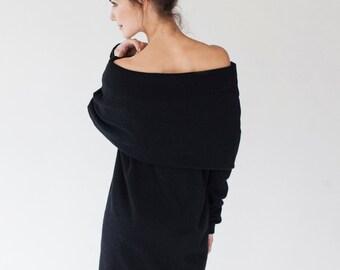Maxi dress | Dark dress | Black wool dress | LeMuse maxi dress