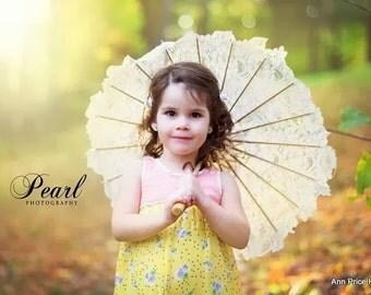 Parasol Flowergirl - Matching flowergirl parasol -  Ivory Alençon Lace with tiny sequins