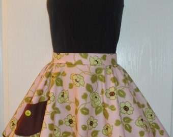 Sale! APRON Floral Pink Green Chocolate Brown Half Apron