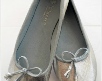 COCO- LUXE Ballet Flats - Leather Shoes - 36 - SILVER. Available in different sizes