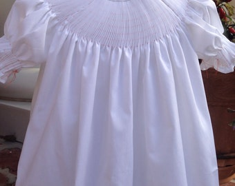 Girls' Ready to Smock Bishop-made to order-size 3 month to 8 in white broadcloth, pink broadcloth, white batiste  or floral  Pleated sleeves