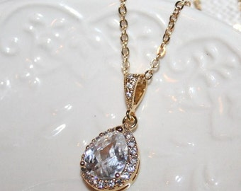 Rhinestone Necklace Gold,Statement Necklace, Bridal Crystal Necklace,Romantic Wedding Statement Jewelry, Cubic Zirconia Sparkling Drop