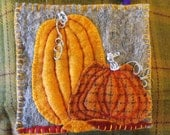 Beautiful Decorative Hot Pad, pumpkins, hand cut & stitched, wool/wool blend felt, folksy,  decorative purposes only.