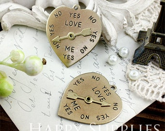 6pcs Nickel Free - High Quality LARGE Love Me YES NO Raw Brass Heart Spinner Pendant / Charm (ZG117)