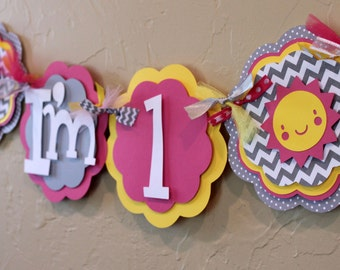 You Are My Sunshine Hot Pink Yellow Gray Chevron Stripe Polka Dot I'm 1 High Chair Age Banner Highchair Girl Baby Shower Party Decorations