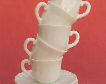 Vintage 1950's French Arcopal White Milk Glass Tea Set  - 11 pieces - Small Cups and Saucers - Excellent Condition