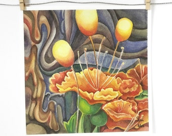 surreal flower painting, watercolor art print, orange and blue wall art