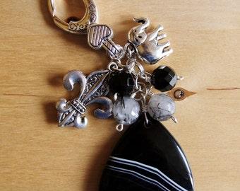 Chunky Stripe Agate purse charm dangle pendant key chain nature stone gemstone jewelry big large bold fleur de lis good luck charm elephant
