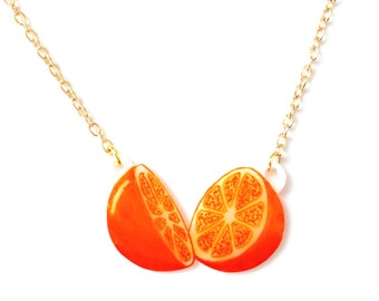 Orange Fruit Necklace - Pendant, Tropical, Juicy, Kitsch, Tangerine, Nectarine, Handmade