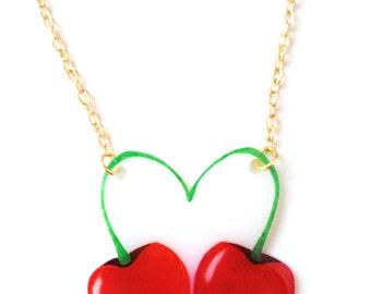 Cherries Fruit Necklace - Pendant, Heart, Juicy, Red, Cherry, Kitsch