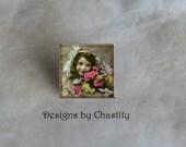 Custom Photo Tie Tack Glass Art Pin - Keepsake - photo photography jewerly - groom dad customized Lapel Pin
