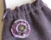 SWEATER PURSE - recycled purse - purple purse - wool purse - BONUS removable flower pin