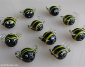 Glass Bee Pair - Lampwork Bee Beads (2) - Black Yellow Bees -  Flamework Sculpture - Turtle Beads Studio - Canadian Artisan- Handmade Canada
