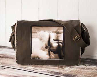 Come Fly With Me - Messenger Bag - School Bag - Khaki Green - Canvas Bag