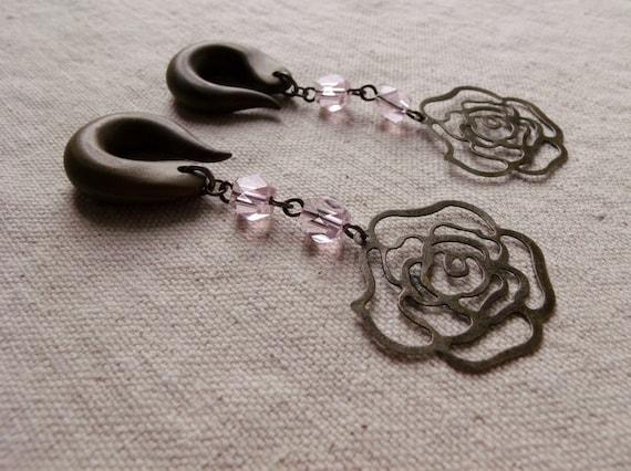 Romantic Pink Rose Drop Gauged Earring Plugs - Last Pair