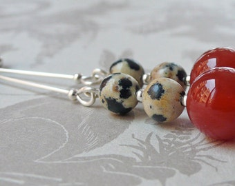 Red Agate and Dalmation Jasper Earrings on Sterling Silver