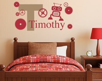 Robot Initial Name Decal Set - Gears & Robot Wall Decor - Personalized Boy Decal - Medium