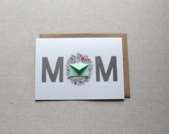 Mother's Day Card Mom Flower Wreath  - Tiny Envelopes Card