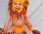 Infant Photography Prop Lion: Yellow Lion toque with ears and mane and diaper cover with tail, 0-6 months, Baby Costume
