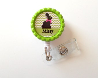 Personalized Easter Bunny Green - ID Badge Holder - Badge Reel - Name Badge Holder - Bottle Cap Badge - Nursing Badge - Nurse Badge Holder