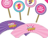 Pink Superhero Party - Personalized DIY printable cupcake wrapper and topper set