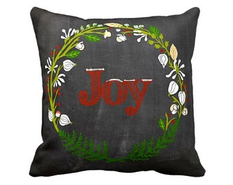 Christmas Pillow Cover Chalkboard Decor Joy Holiday Pillow Cotton and Burlap Pillow