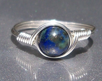 Chrysocolla Azurite Ring Argentium Sterling Silver Wire Wrapped Gemstone Ring