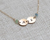 Gold Mothers Birthstone Necklace, Birthstone Initial Necklace for Mom, Swarovski Crystal Charms, 14k gold filled