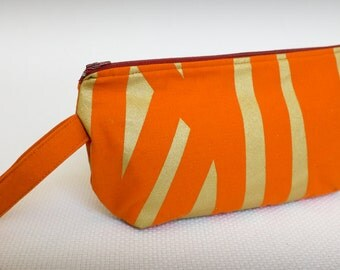 Zippered Wristlet Clutch - Orange and Gold Metallic Wristlet Clutch Handbag - Screenprinted Original Fabric  - Small Bag