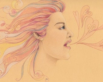 Lovely Outburst - Original Colored Pencil Drawing.