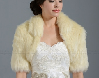 Champagne faux fur bolero jacket shrug Wrap FB005-Champagne