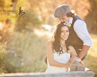 Autumn headband, fall wedding, ivory bridal head piece, pine cone rose head piece, rustic wedding