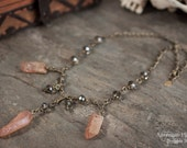 Mystic Quartz Necklace with Faceted Gray Glass Beads