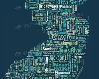 """SALE: New Jersey Type Map Art Print - 13 x 19"""" // additional sizes available"""
