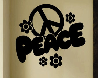 Fat Peace Sign, Vinyl Wall Lettering, Vinyl Wall Decals, Vinyl Decals, Vinyl Letters, Wall Quotes, Girls Room Decal, Flower Decal