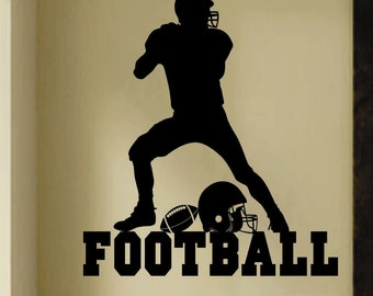 Football Player Silhouette, Vinyl Wall Lettering, Vinyl Wall Decals, Vinyl Letters, Vinyl Lettering, Sports Decal, Wall Quotes