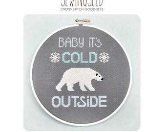 Cross Stitch Pattern, Baby It's Cold Outside, Polar Bear, Instant Download