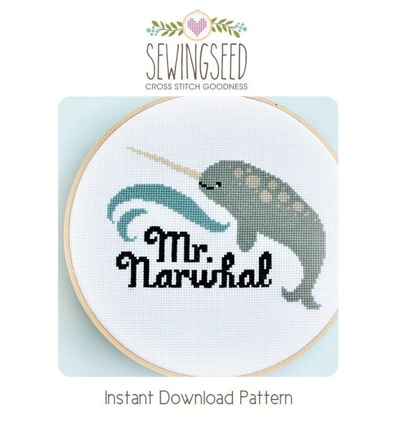 Narwhal Cross Stitch Pattern Instant Download